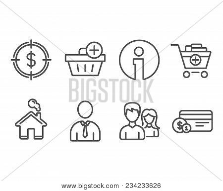 Set Of Dollar Target, Add Products And Human Icons. Add Purchase, Couple And Payment Method Signs. A