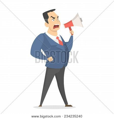 Isolated Yelling Boss With Megaphone Standing On White.