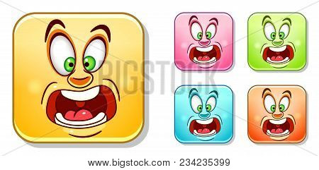 Scared And Screaming Emoji. Emoticons Collection. Colorful Smiley Set.