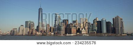 Manhattan Skyline Viewed From The Ferry To Ellis Island