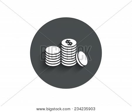 Coins Money Simple Icon. Banking Currency Sign. Cash Symbol. Circle Flat Button With Shadow. Vector