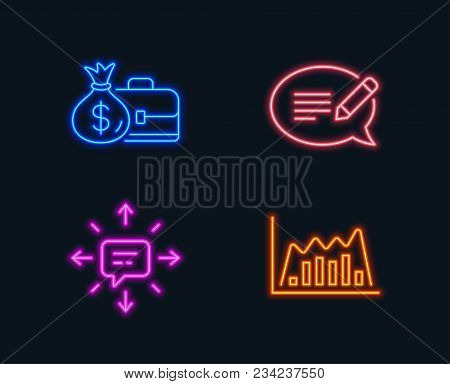 Neon Lights. Set Of Message, Salary And Sms Icons. Infographic Graph Sign. Speech Bubble, Diplomat W