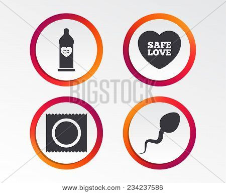 Safe Sex Love Icons. Condom In Package Symbol. Sperm Sign. Fertilization Or Insemination. Infographi