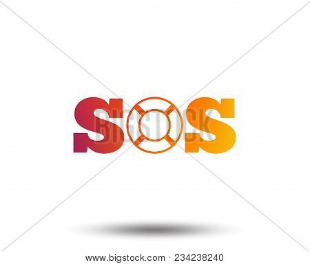 Sos Sign Icon. Lifebuoy Symbol. Blurred Gradient Design Element. Vivid Graphic Flat Icon. Vector