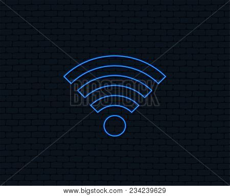 Neon Light. Wifi Sign. Wi-fi Symbol. Wireless Network Icon. Wifi Zone. Glowing Graphic Design. Brick
