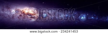 3d Illustration Of Deep Space Formations With Bulging Universes On A Galactic Background, For Video