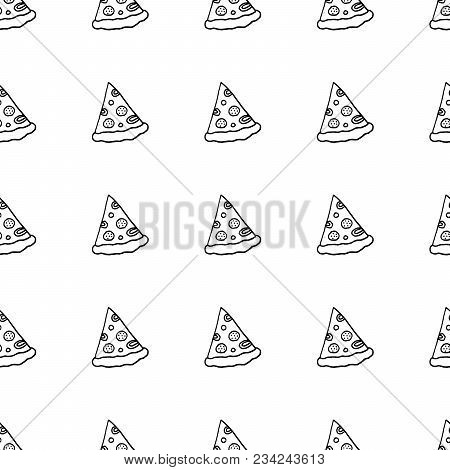 Cute Cartoon Hand Drawn Pattern With Pizza Slices. Sweet Vector Black And White Hand Drawn Pattern.