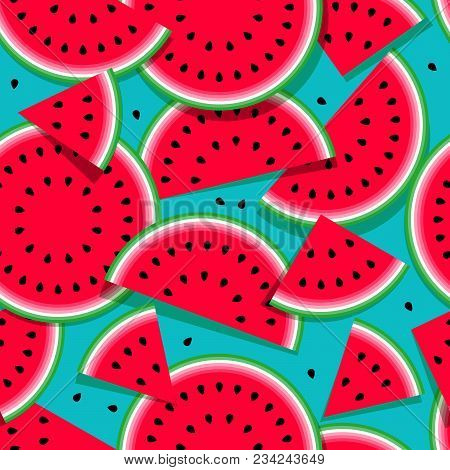 Watermelons Seamless Pattern Of Different Shapes And Seeds. Ripe Red Watermelons On A Blue Backgroun