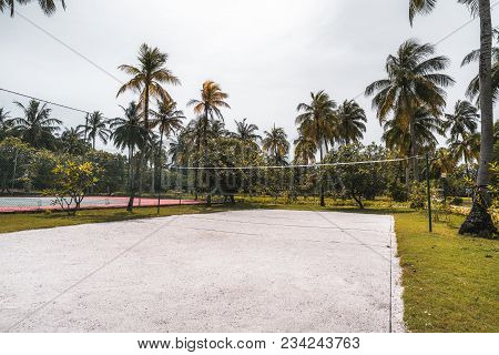 Side Wide-angle View Of The Volleyball Court: Coral Sand On The Ground, Multiple Palm Trees And Othe