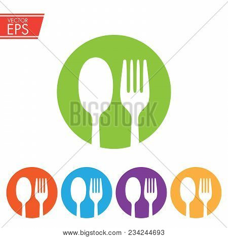 Fork And Spoon In Colored Circles Simple Silhouette Style Icons Vector Illustration For Design And W