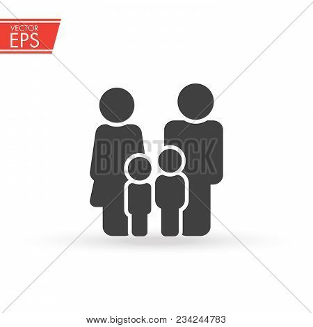 Family Icon. Happy Family Icon In Simple Figures. Two Children, Dad And Mom Stand Together. Parents