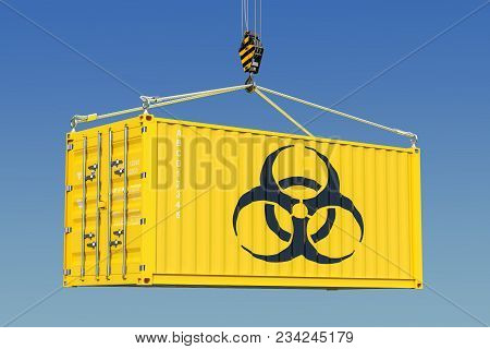 Cargo Container With Bio-hazard Waste Concept. 3d Rendering