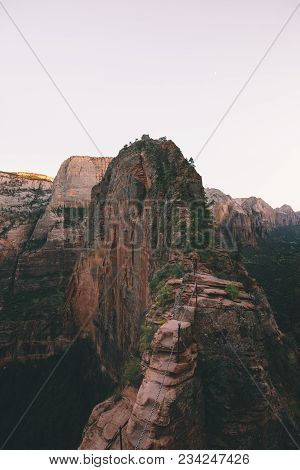 Panoramic View Of Famous Angels Landing Hiking Trail Overlooking Scenic Zion Canyon In Beautiful Pos