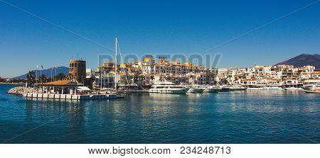 Port. Port Of Puerto Banus, Marbella, Malaga, Costa Del Sol, Spain. Picture Taken - 27 March 2018.