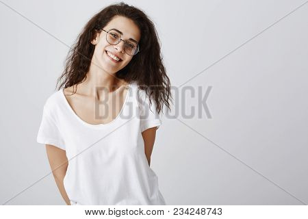 One Can Fall In Love In Beautiful Smile. Portrait Of Positive Good-looking Girlfriend In Glasses And