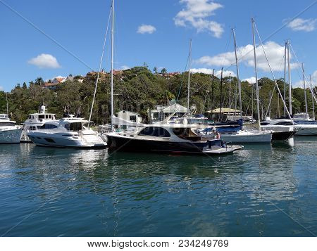 Sydney Harbour, Nsw, Australia-february 5, 2018:  A Collection Of Yachts And Cruisers At Their Float