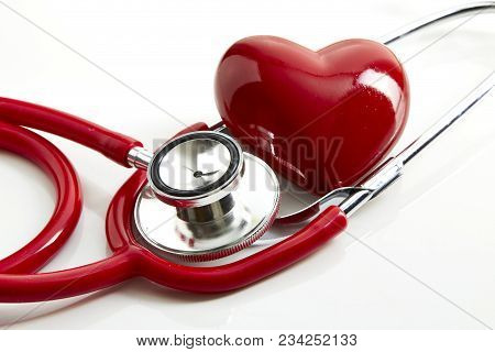 Red Stethoscope With Red Heart And Doctor White Background, Minimal Love And Health Concept