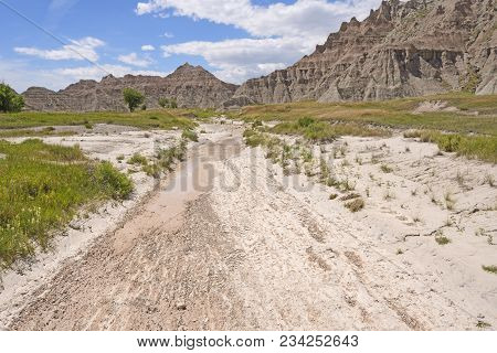 Dry Wash In The Badlands In Badlands National Park In South Dakota