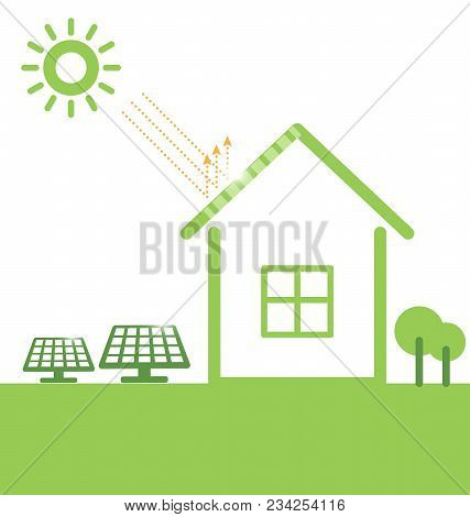 Illustration Environmentally Friendly. Green House And Solar Panels ,isolated On A White Background.