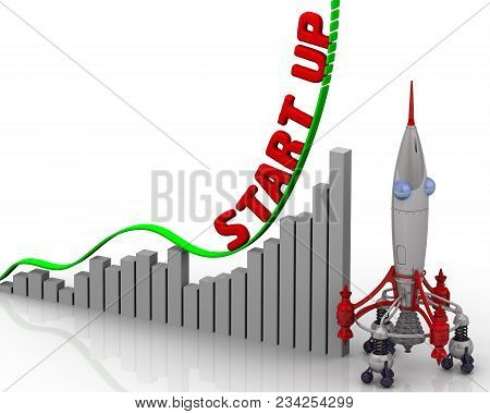 Start Up. The Graph Of Growth. Graph Of Rapid Growth With Word Start Up And Rocket. 3d Illustration