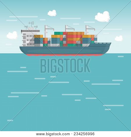 Sea Transportation Logistic. Sea Freight. Cargo Ship, Container Shipping On Flat Style. Vector Illus