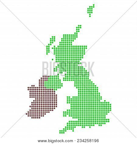 Dotted Great Britain And Ireland Map. Vector Collage Of Great Britain And Ireland Map Organized Of C