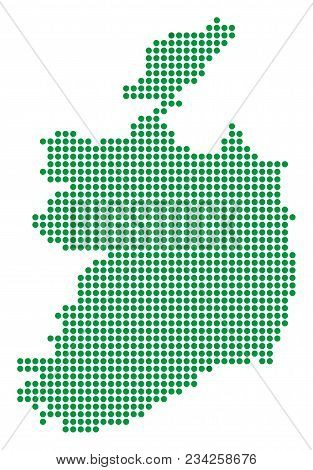 Dotted Ireland Republic Map. Vector Mosaic Of Ireland Republic Map Designed Of Round Dots. Vector Ge