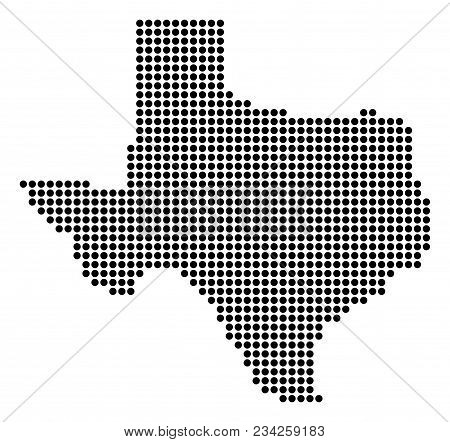 Dotted Texas Map. Vector Concept Of Texas Map Done Of Round Pixels. Vector Geographic Map.