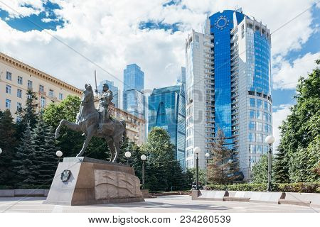Moscow, Russia - June 24, 2017: Monument To The Commander Bagration In Moscow Against The Background