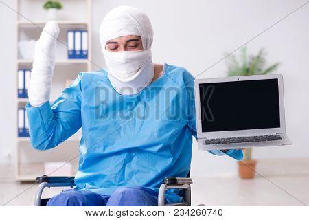 Man suffering from multiple broken bones and fractures