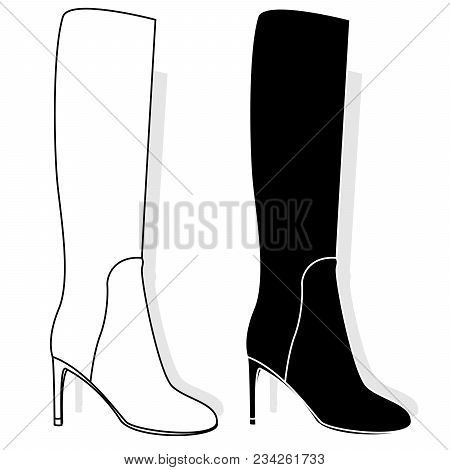 High Female Boots, Isolated On White