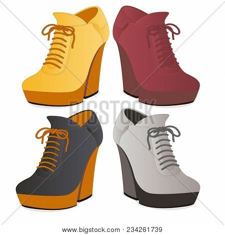 Modern Female Ankle Boots Isolated
