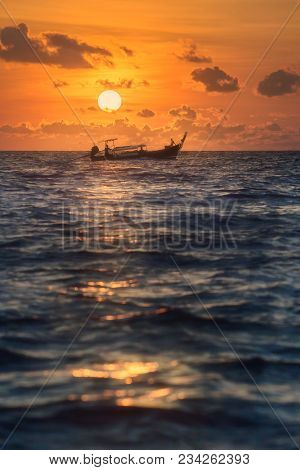 Beautiful Seascape Of Sunset With Colorful Sky And Longtail Boat On The Sea, Thailand