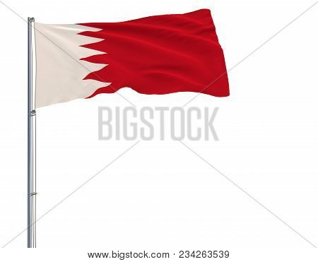 Isolate Flag Of Bahrain On A Flagpole Fluttering In The Wind On A White Background, 3d Rendering