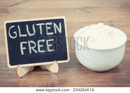 Vintage Photo, Millet Flour In White Glass Bowl, Concept Of Healthy Gluten Free Food And Nutrition