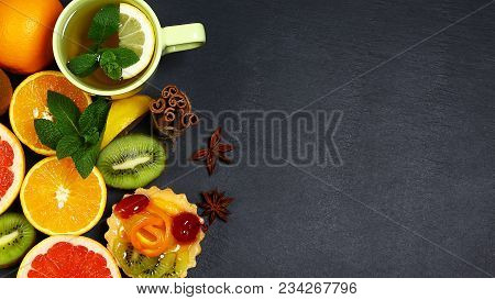 Variety Of Fruits Grapefruit, Oranges, Kiwi, Lemon, Mint, Cake, Sweet Fruit Dessert Bunched, Cup Of
