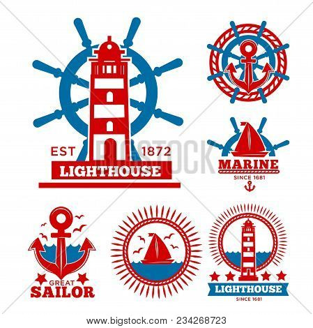 Marine And Nautical Logo Templates Or Heraldic Symbols. Vector Isolated Icons Of Ship Anchor, Helm A