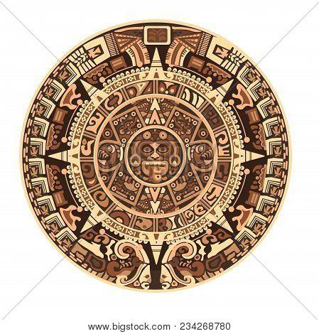 Maya Calendar Of Mayan Or Aztec Hieroglyph Signs And Symbols. Vector Isolated Round Circle Maya Cale