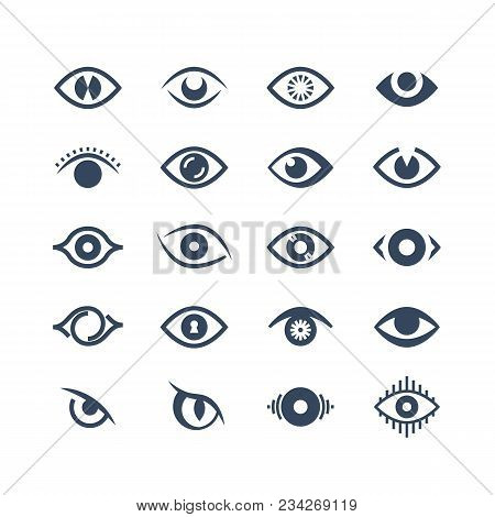 Human Eye, Supervision And View Symbols. Looking Eyes Vector Silhouette Icons. Illustration Of Eye L
