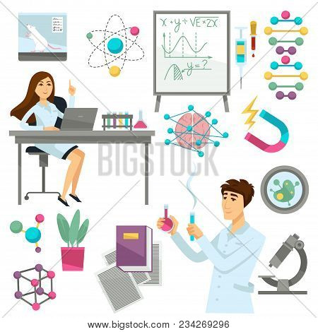 Science And Scientists Icons. Vector Isolated Set Of Genetics Research And Mouse Experiment In Dna,