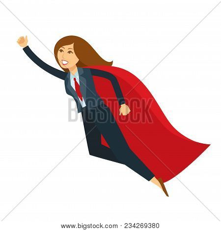 Superwoman Or Super Woman Office Manager Vector Cartoon Character Icon. Isolated Business Woman In S