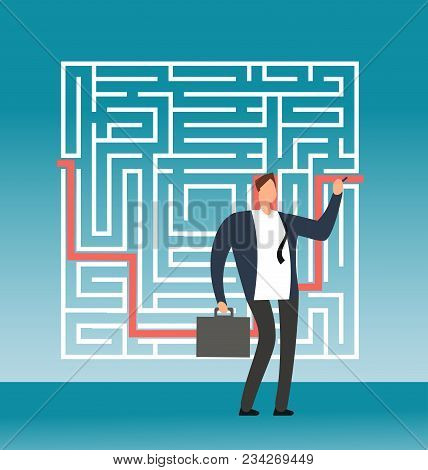 Businessman Drawing Right Path To Success In Complex Maze, Labyrinth. Simple Solution Creative Vecto