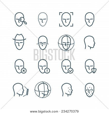 Face Recognition Line Icons. Faces Biometrics Detection, Facial Scanning And Unlock System Vector Pi