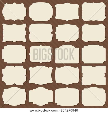 Retro Blank Paper Label Shapes. Vintage Elegant Frames For Wedding Invitation Vector Set. Label Fram