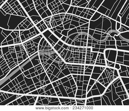 Black And White Travel City Map. Urban Transport Roads Vector Cartography Background. City Road Back