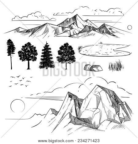 Hand Drawing Mountain Range, Peaks Clouds, Sun And Forest Trees. Retro Mountains And Landscape Eleme