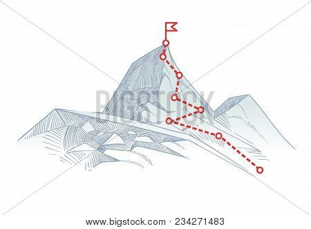 Mountain Climbing Route To Peak. Business Journey Path In Progress To Success Vector Concept. Mounta