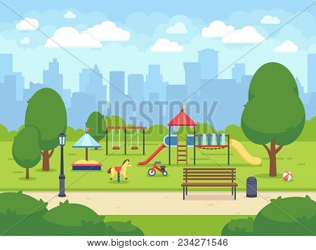 Urban Summer Public Garden With Kids Playground. Cartoon Vector City Park With Cityscape. Green Park