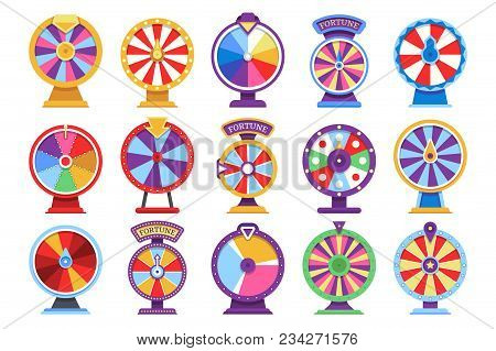 Roulette Fortune Spinning Wheels Flat Icons Casino Money Games - Bankrupt Or Lucky Vector Elements.