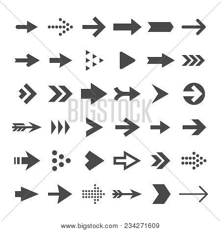 Arrow Button Icons. Right Arrowhead Signs. Rewind And Next Vector Symbols. Set Of Arrow Right And Fo